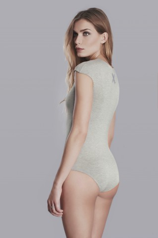 Grey bodysuit with x application in back