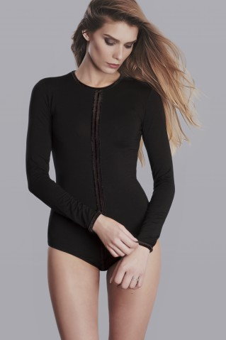 Black bodysuit with line application