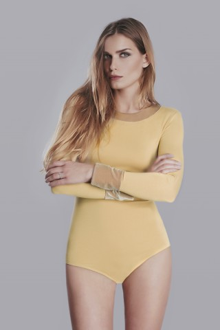 Mustard color bodysuit with collar application