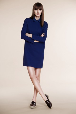 Straight blue dress with shirt collar