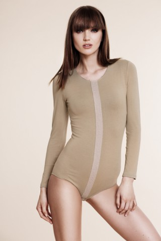 Nude bodysuit with decorative application line