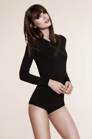 Black bodysuit with X application