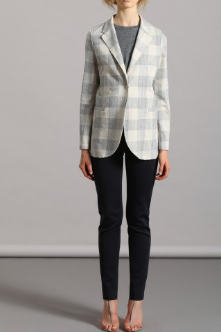 boyfriend jacket linen check
