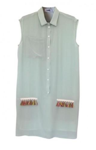 sleeveless shirt dress + rafia hawai pockets