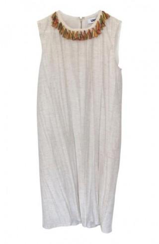 sleevess dress + hawai rafia neckl