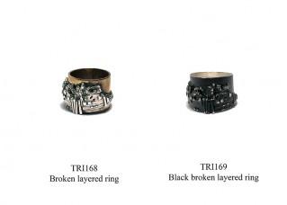 Black broken layered ring