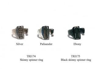Black skinny spinner ring