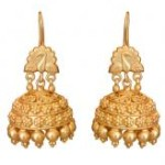 Indian Accessories Designers - Roopa Vohra - Indian Designer Jewellery - Designer Earrings - RV-SS14-RVSE-577 ZZ000 - Pretty Embossed Gold Plated Jhumkas - 1