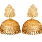 Indian Accessories Designers - Roopa Vohra - Indian Designer Jewellery - Designer Earrings - RV-SS14-RVSE-588 ZZJ00 - Gorgeous Gold Plated Jhumkas - 1