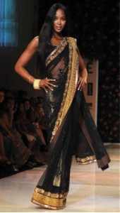 Naomi Campbell in a Black Saree