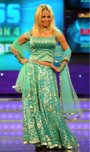 Pamela Anderson in a Turquoise Wedding Lehenga
