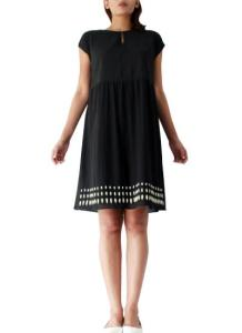 Abraham & Thakore - Black Embroidered Notches Dress