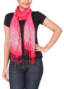 Khyati Sahani -  Striking Pink Sequined Scarf