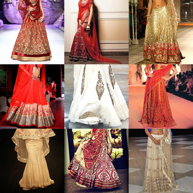 So many beautiful bridal lehengas to choose from! Which one is your favourite? :) #beautiful #bridalwear