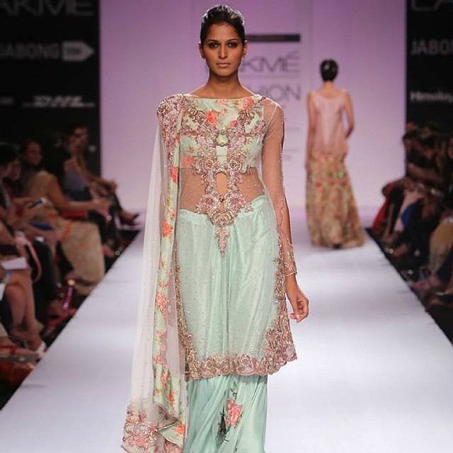 "Pakistani Designer Zara Shahjahan's beautiful collection ""City of Gardens"" at Lakme Fashion Week Winter Festive 2014. #beautiful #fashion #nofilter #love"