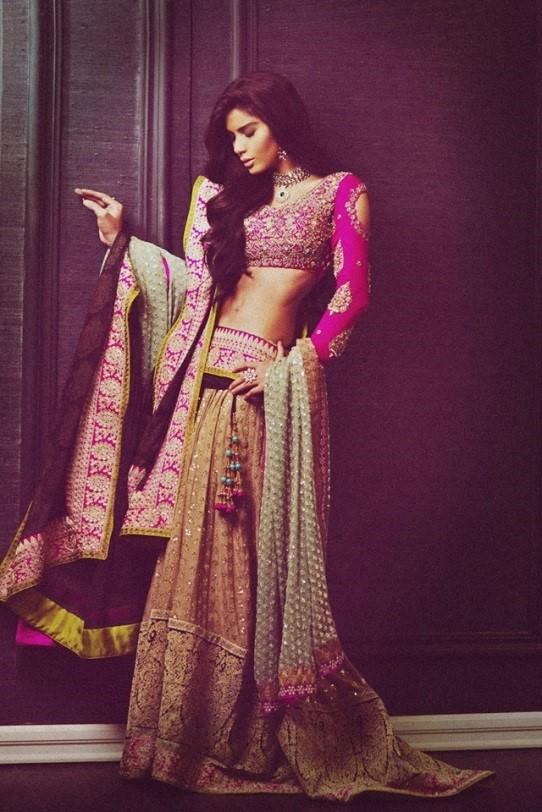 A bold pink bridal lehenga by Sana Safinaz