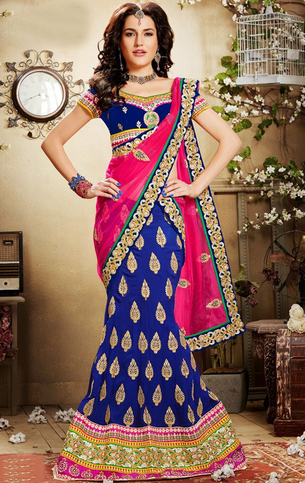 Blue and pink lehenga | Fashion in India