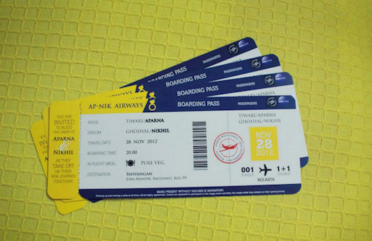 Boarding Pass Wedding Invitations | Alternatives to Extravagant Indian Wedding Invitations