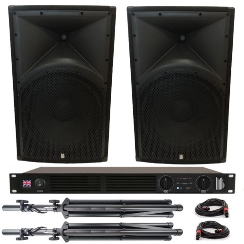 """2 x Alpha 15"""" Passive 500w RMS Speaker Package With Amplifier, Cables and Stands"""