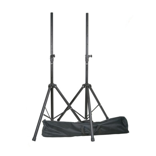 2 x Heavy Duty Speaker Stands In Strong Gig Bag