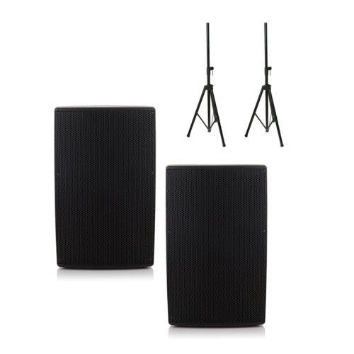 """2x Orion 15"""" Active Bluetooth Speakers & 2x Stands"""