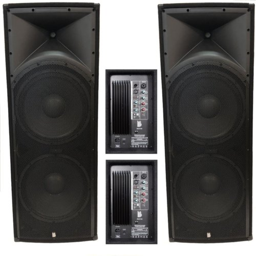 "2 x Alpha Twin Active 15"" Speakers - 4000w Peak Speaker System With Bluetooth"