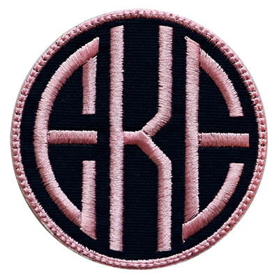 PATCHES Navy & Pink Circle Monogram
