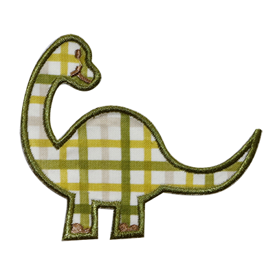 PATCHES Green Plaid Dino Patch