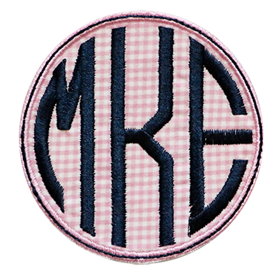 PATCHES Pink Checks and Navy Circle Monogram