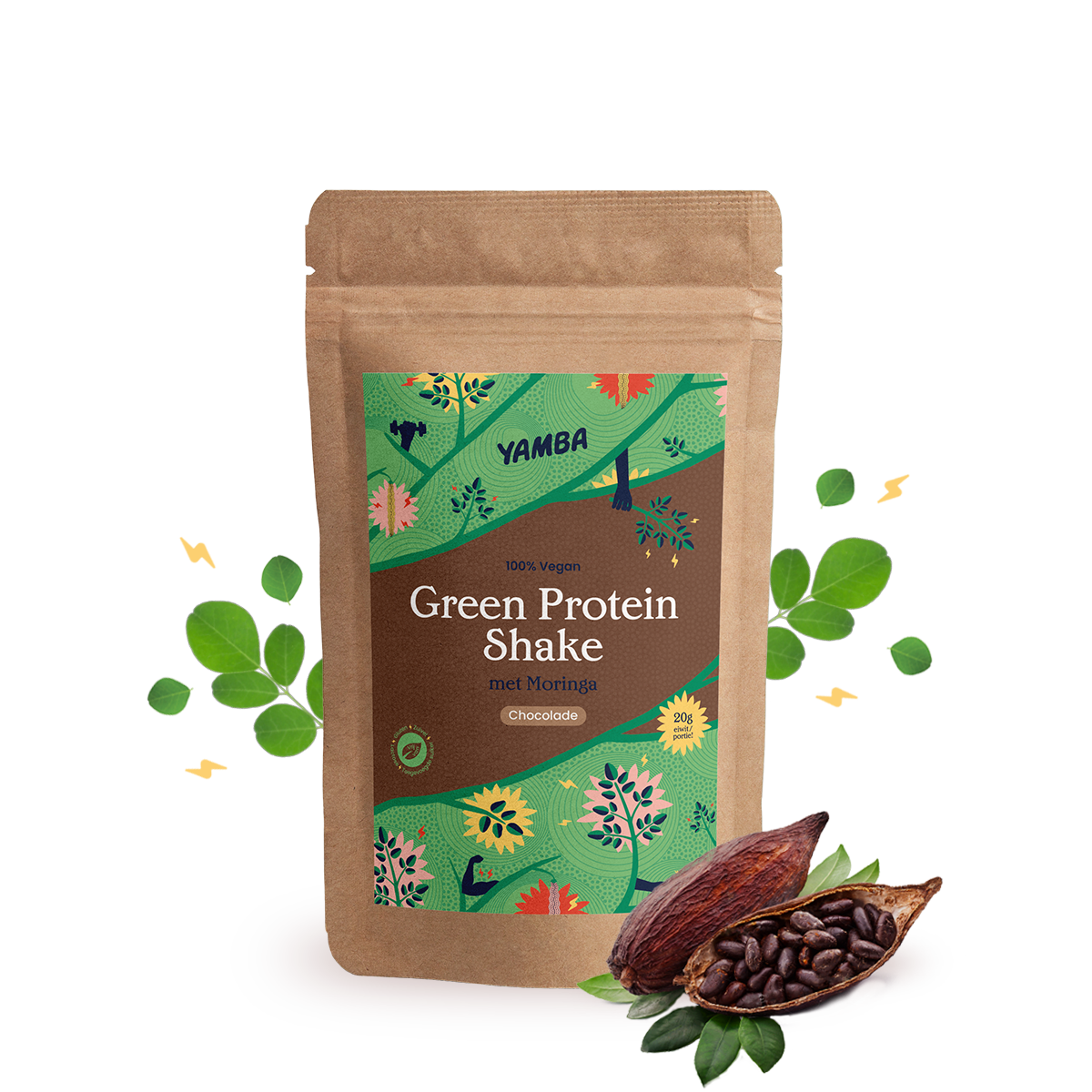 Green Protein Shake Chocolade (1kg) packaging