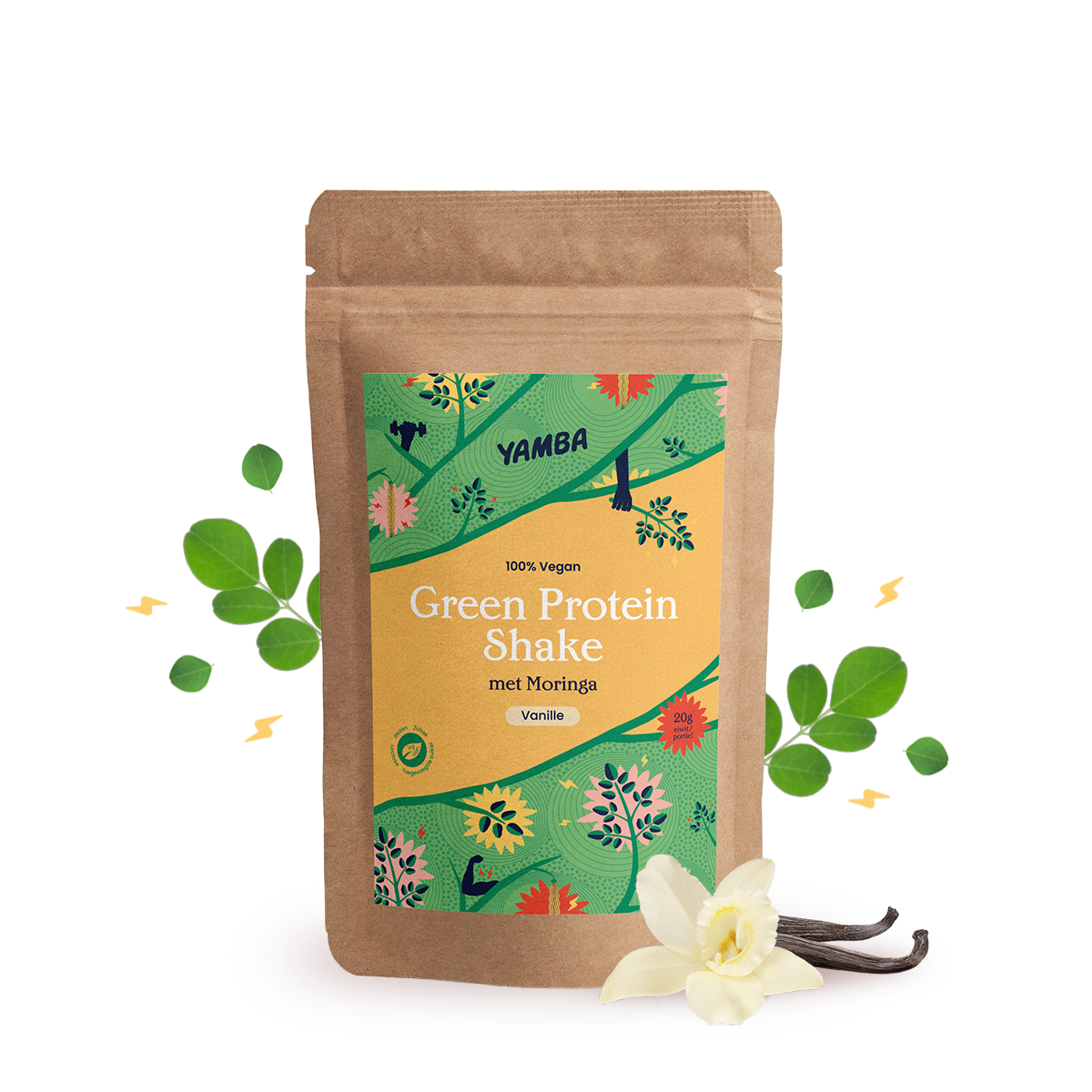 Green Protein Shake Vanille (1kg) packaging