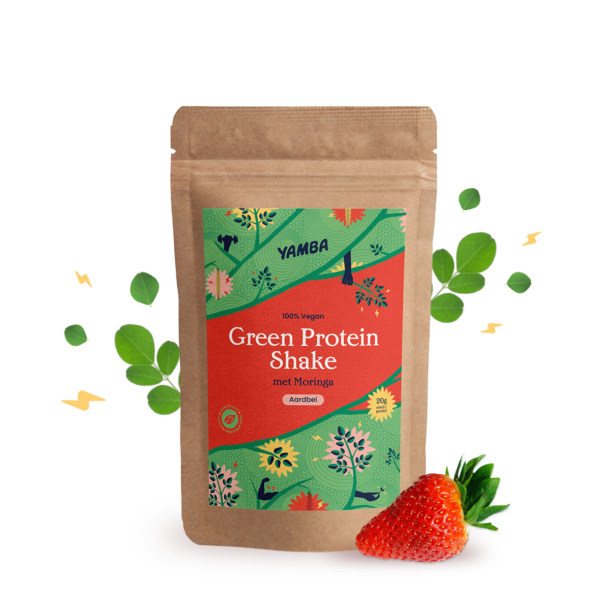 Green Protein Shake Aarbei (1kg) packaging