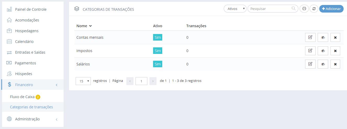 Categorias de transação cadastradas