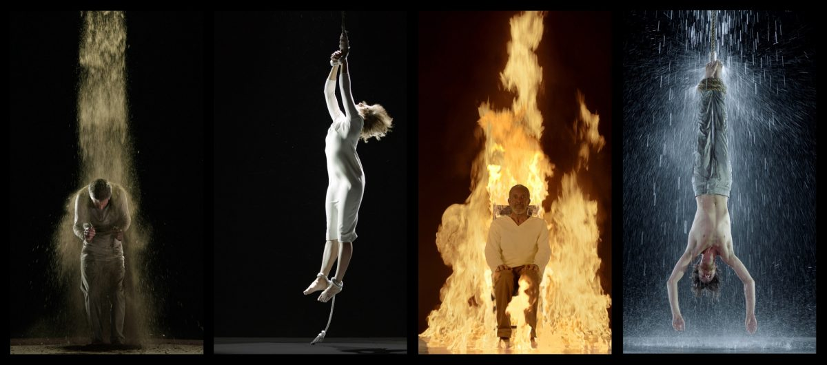 Bill Viola Martyrs Earth Air Fire Water 2014 Color High Definition Video On Four Flat Panel Displays Photos Kira Perov 2