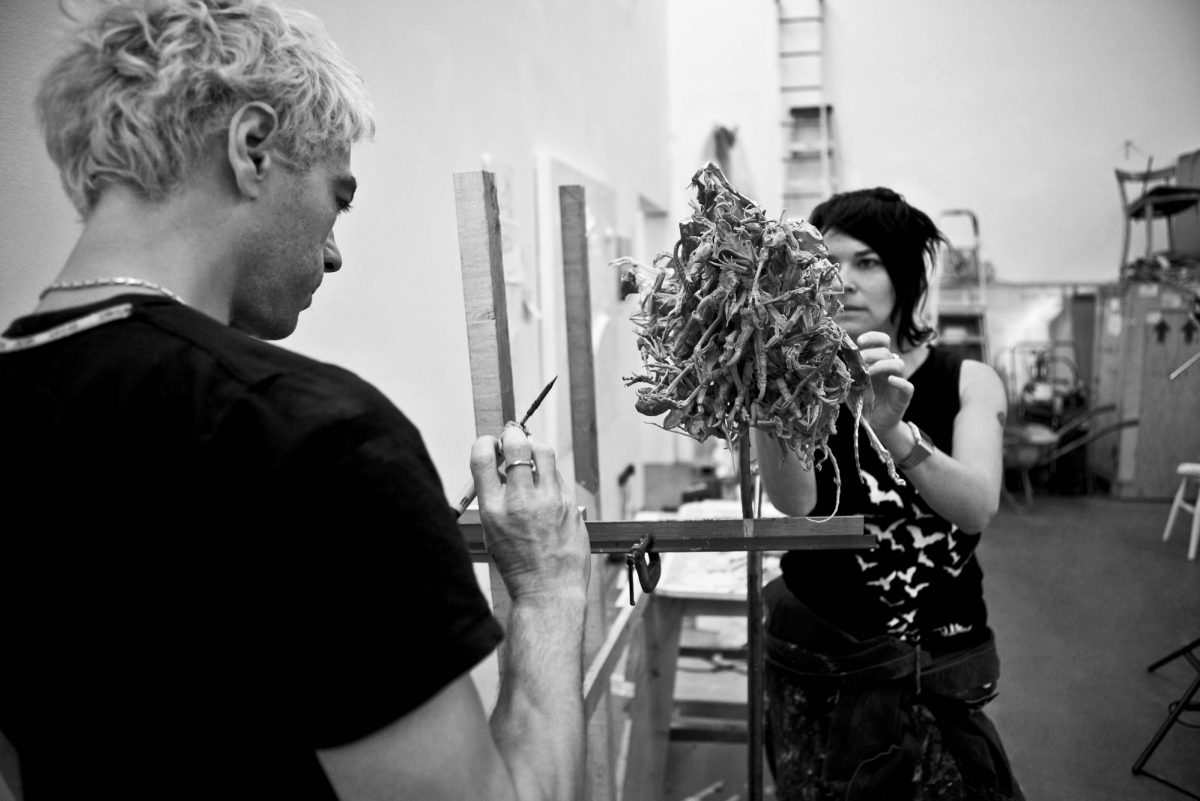 Tim Noble And Sue Webster In Studio Working On Turning The Seventh Corner