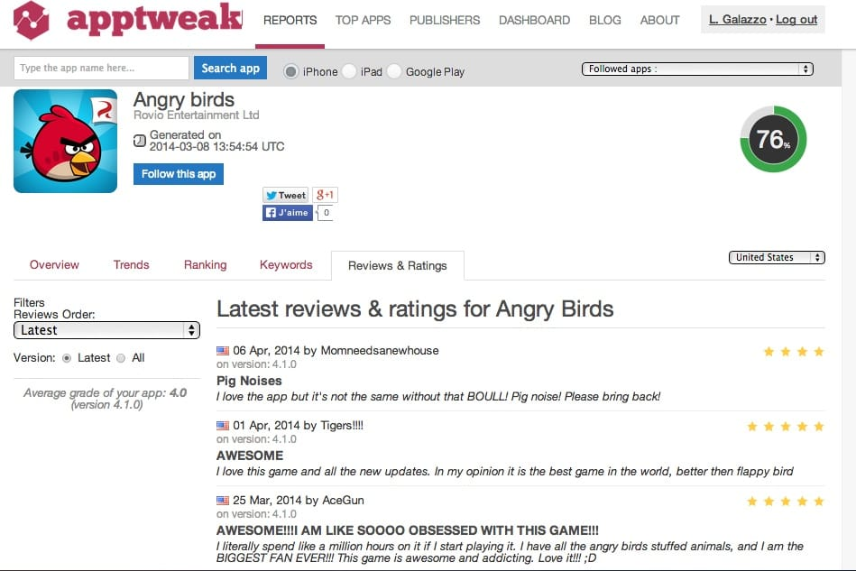 Angry Birds Reviews & Ratings