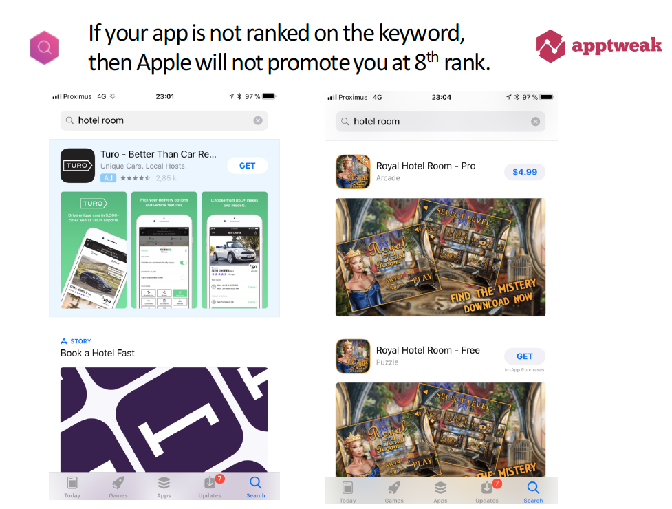 Search Ads app not boosted when no organic ranking
