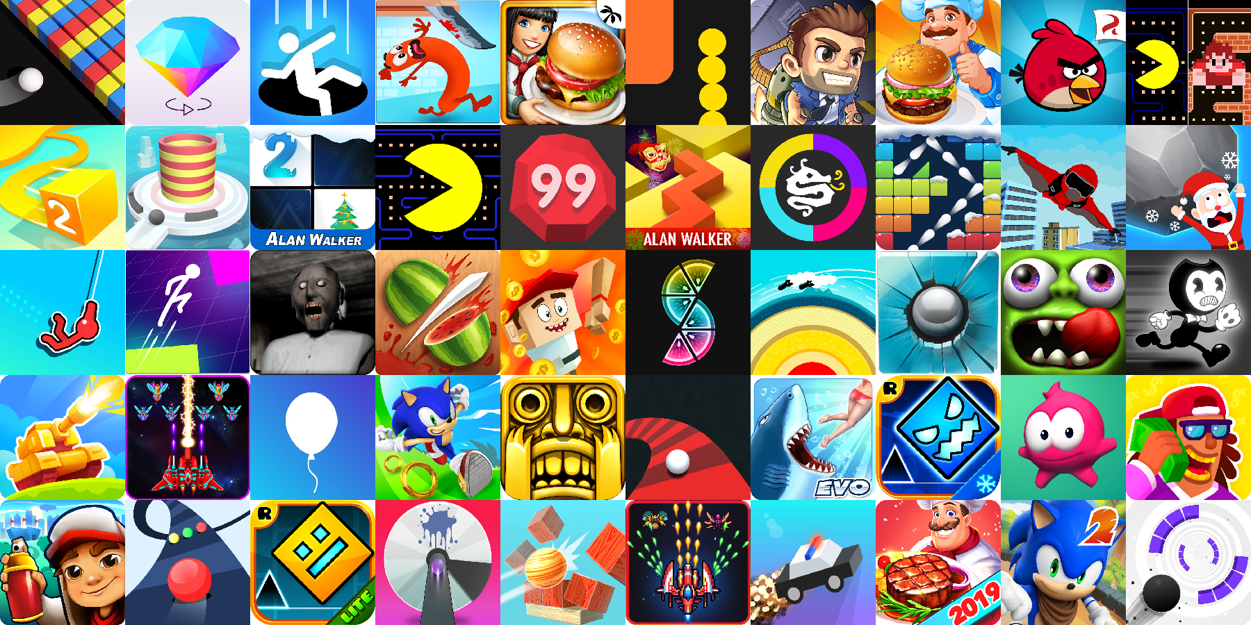 App icons of Top 50 mobile games in the US Play Store Game - Arcade Category
