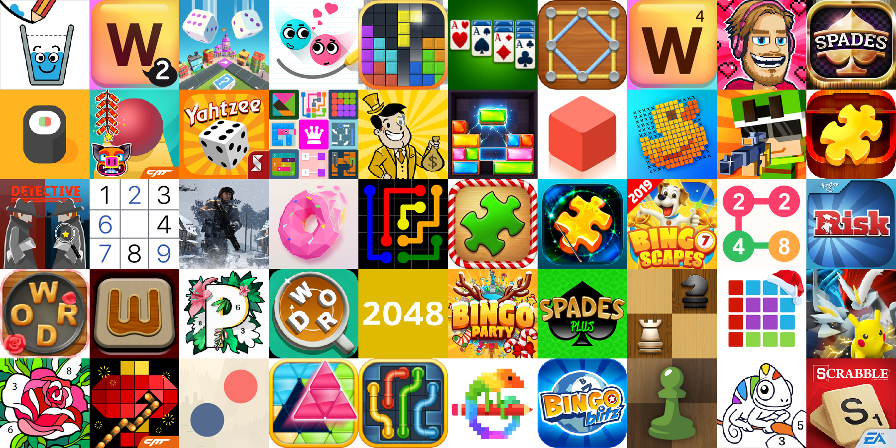 App icons of Top 50 mobile games in the US App Store Game - Board Category