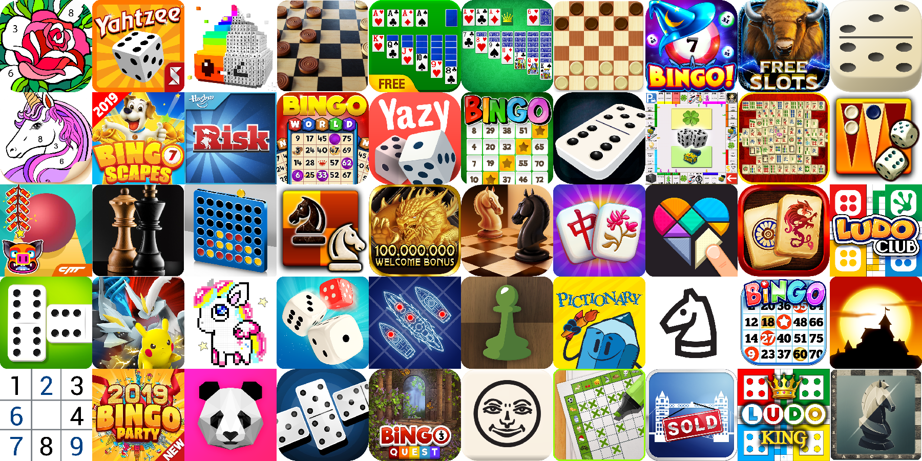 App icons of Top 50 mobile games in the US Play Store Game - Board Category