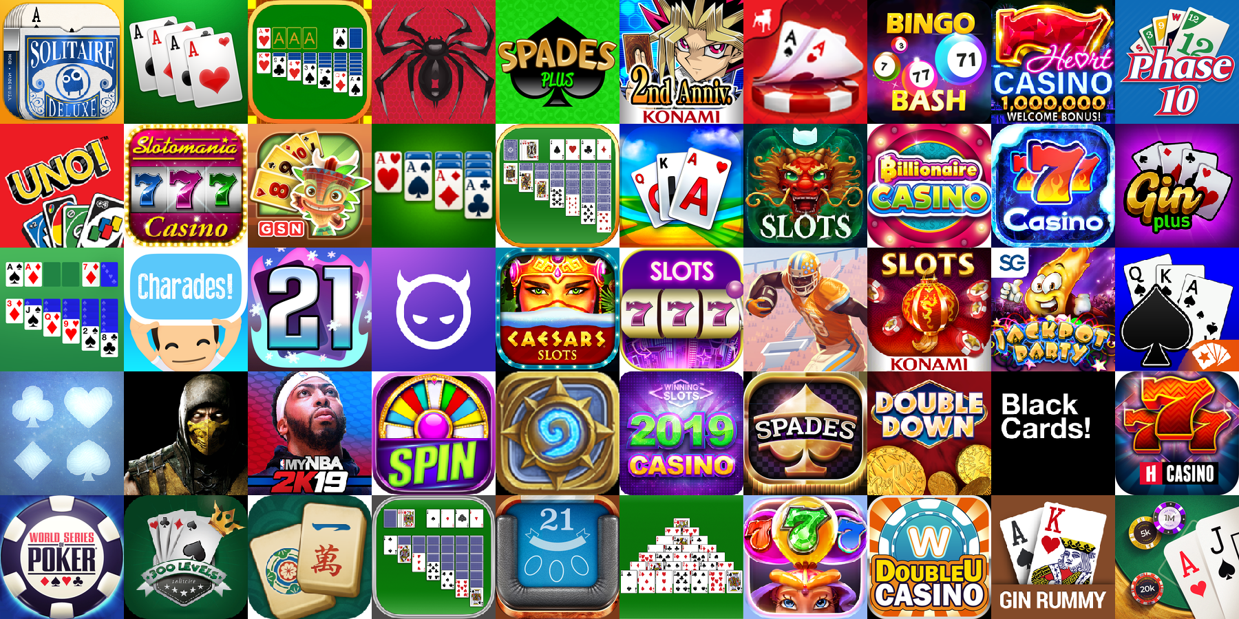 App icons of Top 50 mobile games in the US App Store Game - Card Category