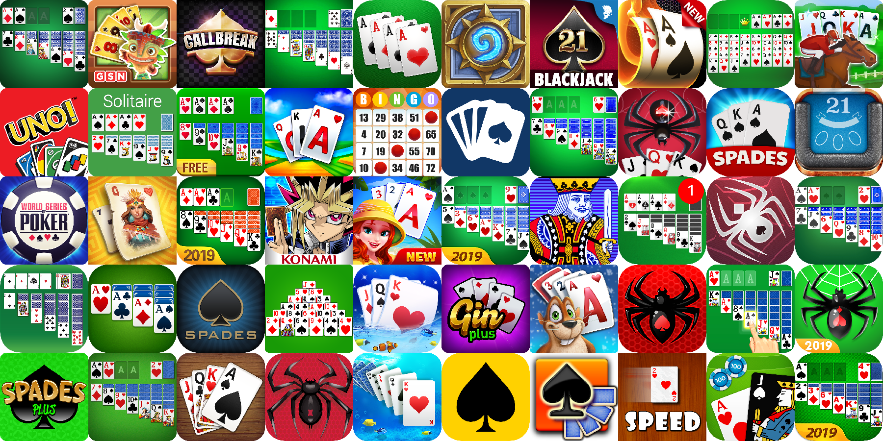 App icons of Top 50 mobile games in the US Play Store Game - Card Category