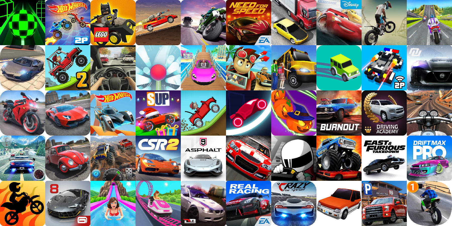 App icons of Top 50 mobile games in the US Play Store Game - Racing Category