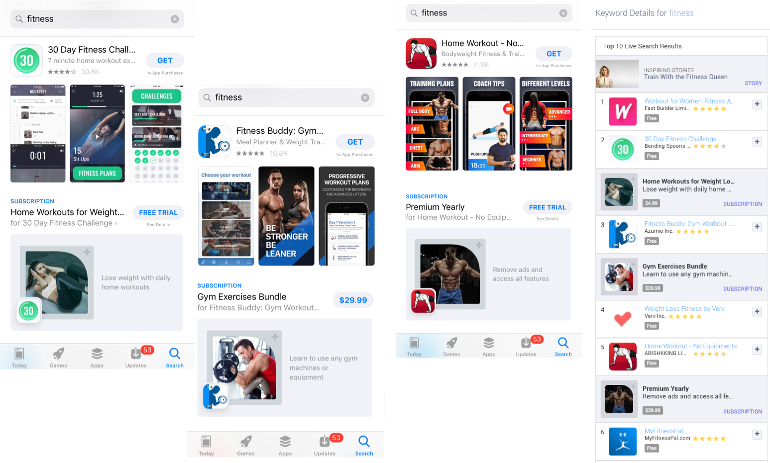"""Examples of Subscriptions in the Apple App Store search results on """"fitness"""" and in Apptweak's Live Search Results"""