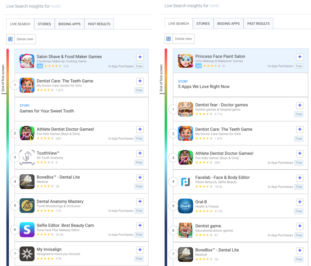 """AppTweak's live search results for """"tooth"""" and """"teeth in the Apple App Store in the US."""