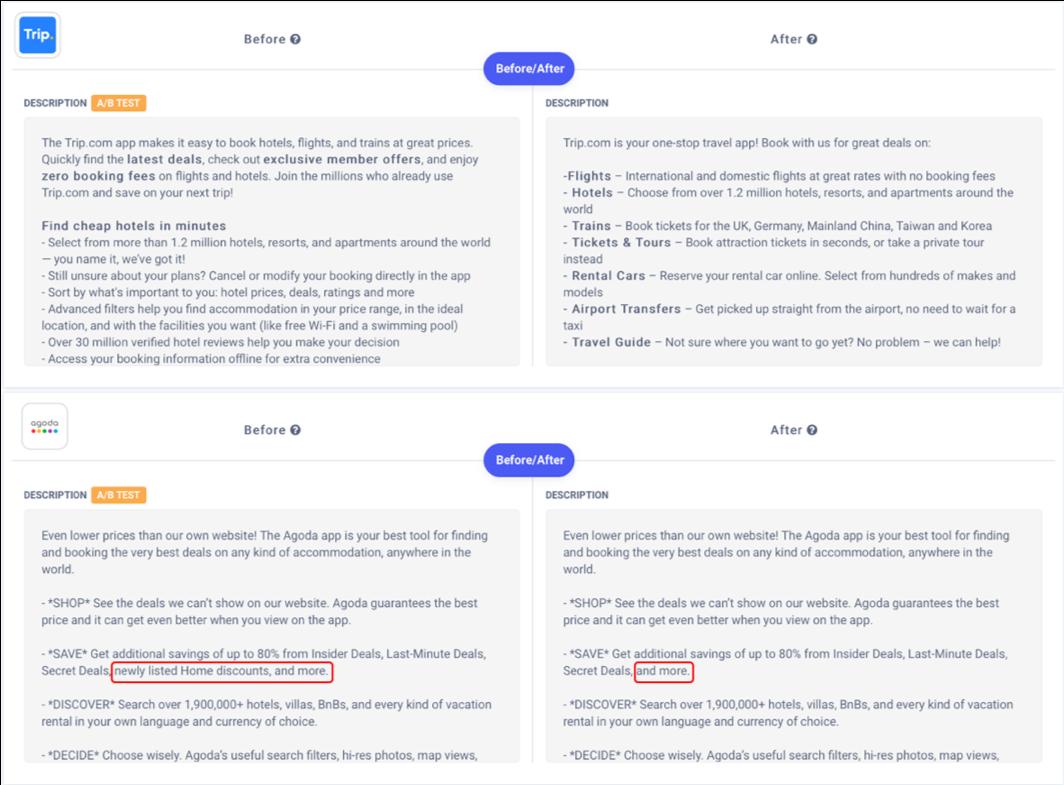 Apptweak ASO Tool: A/B test example of Agoda on long description