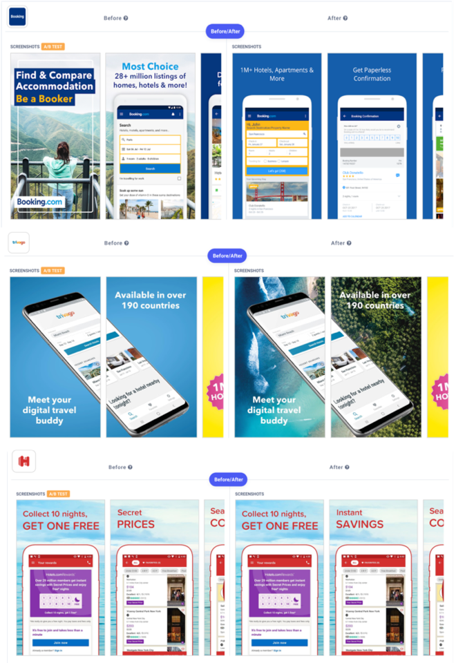 Apptweak ASO Tool: A/B test example of traveling and booking apps on screenshots