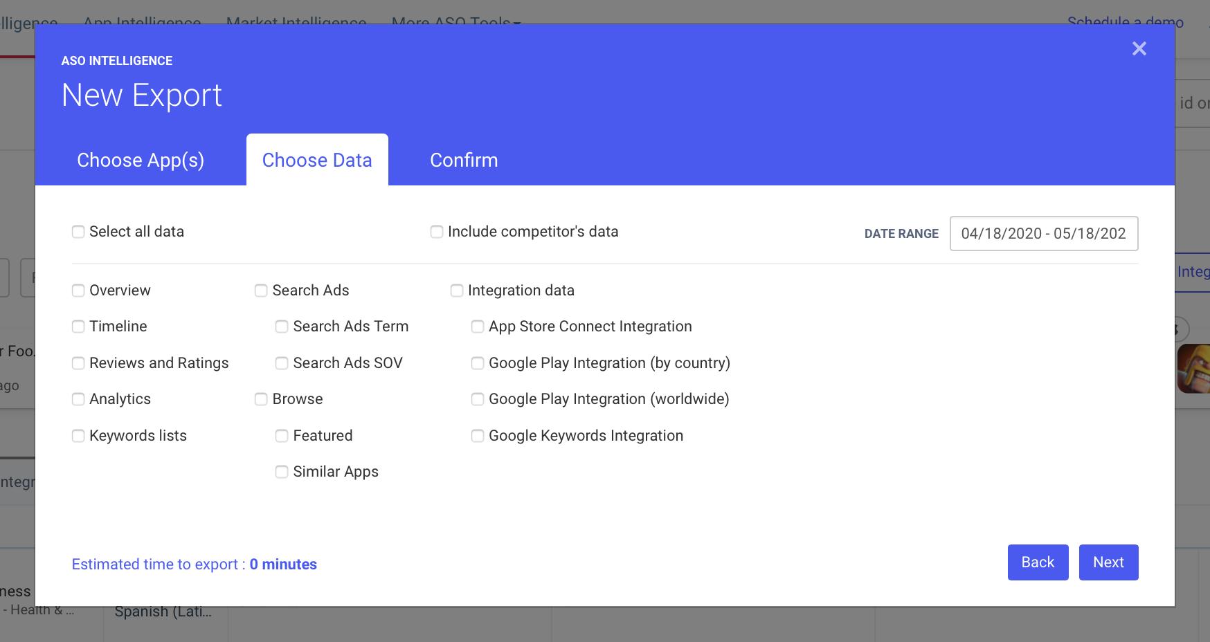 AppTweak ASO Tool: Export from dashboard pop-up choose data