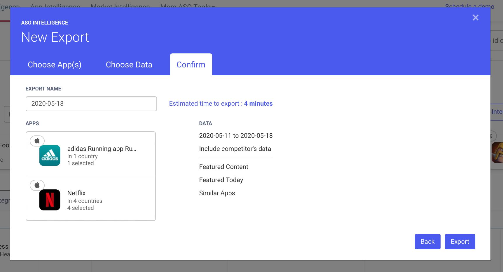 AppTweak ASO Tool: Export from dashboard pop-up confirm