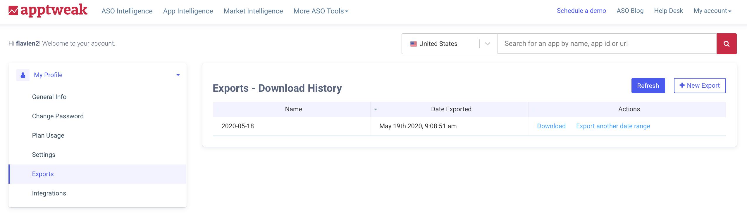 AppTweak ASO Tool: Export interface